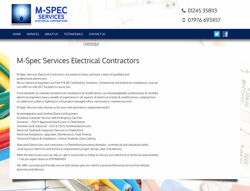Chelmsford Essex Web Design - M-Spec Services