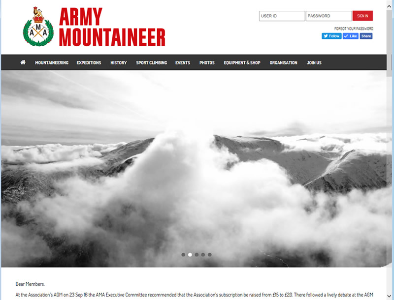 Chelmsford Essex Web Design - Army Mountaineering Association