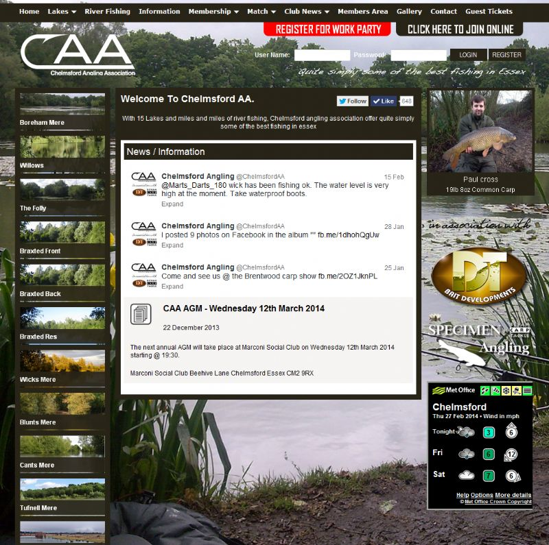 Chelmsford Essex Web Design - Chelmsford Angling Association