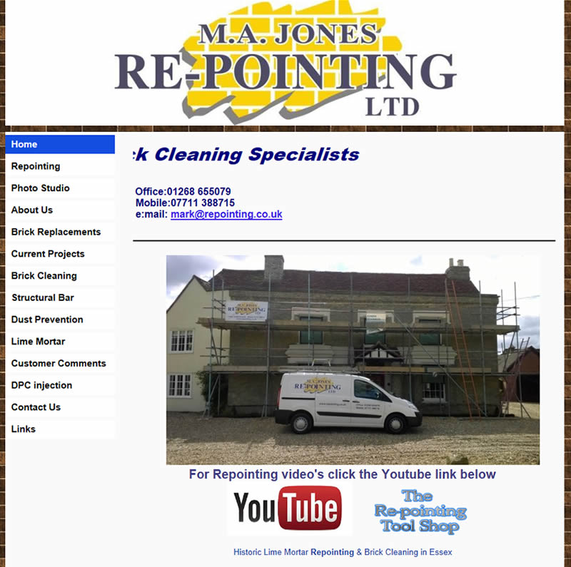 Chelmsford Essex Web Design - M A Jones Repointing Limited