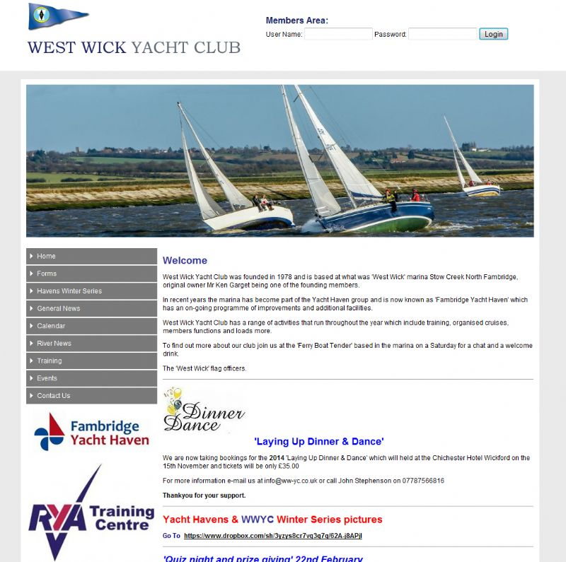 Chelmsford Essex Web Design - Westwick Yacht Club